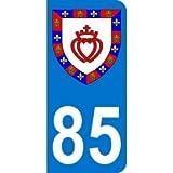 Autocollant 85 avec blason Vendée plaque immatriculation Auto (9,8 x 4,5 cm)