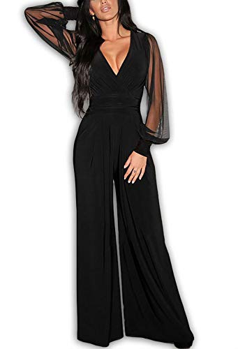 701 - Plus Size Mesh Long Sleeves V Neck Wide Pants Jumpsuit (3X) Black