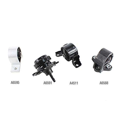 DNJ MMK1029 Complete Engine Motor & Transmission Mount Kit for 2001-2005 / Honda/Civic / 1.7L - Engine Mount Honda Civic