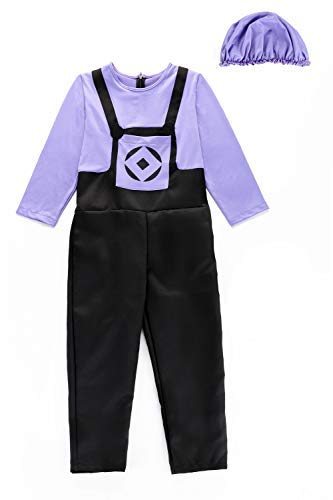 Children's Evil Minions Purple Costume Halloween Chirstmas Cosplay Game Anime Suit,L