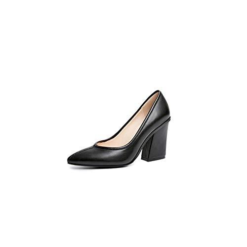 Zapatos Otoño Cuero Negro Comodidad Rosa Talón De Mujer QOIQNLSN Tacones Nappa Chunky Almendra Black fIwvdt6q