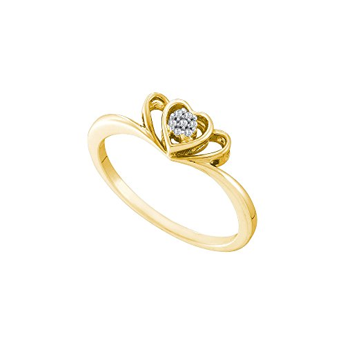 10kt Yellow Gold Womens Round Diamond Small Triple Heart Cluster Ring .03 Cttw by JawaFashion