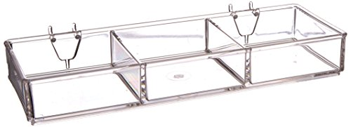 Azar Displays 225503-2pack 3-Compartment Tray for Pegboard/Slatwall (Pack of 2) (Slatwall Tray)