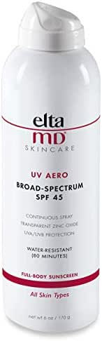 EltaMD UV Aero Full-Body Sunscreen Broad-Spectrum SPF 45, Spray Sunscreen, Water-Resistant, Continuous Spray, Oil-free, Dermatologist-Recommended Mineral-Based Zinc Oxide Sunscreen Spray, 6.0 oz
