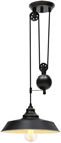 KingSo Rustic Pulley Pendant Light One Light Adjustable Height Industrial Black Ceiling Hanging Light Indoor Island Lamp for Dining Living Room Kitchen Hallway Foyer Farmhouse, One Light