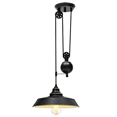 KingSo Rustic Pulley Pendant Light One Light Adjustable Height Industrial Black Ceiling Hanging Light Indoor Island Lamp… - ✔ Rustic Pulley Pendant Light - The vintage retro style with black color and golden rim, pulley adjustable design and golden lining generates an antique flavor. Adjustable length design with movable pulley makes you achieve the perfect lighting. ✔ Specification - The diameter of the lampshade is 11.81in, black surface and golden lining. The total length of the hanging wire is about 6.56ft. The diameter of the canopy is 5.43in. Operating Voltage: 110V. Max. Power: 60W. E26 base (Bulb NOT Included). ✔ Safe and Secure - Hardwired. UL listed. Strong woven rope wraps up the electric wires, not easy to break. Ceramic lampholder-heat-resistant, anti-deformation, corrosion-resistant. - kitchen-dining-room-decor, kitchen-dining-room, chandeliers-lighting - 31oqL%2BVGiFL. SS400  -