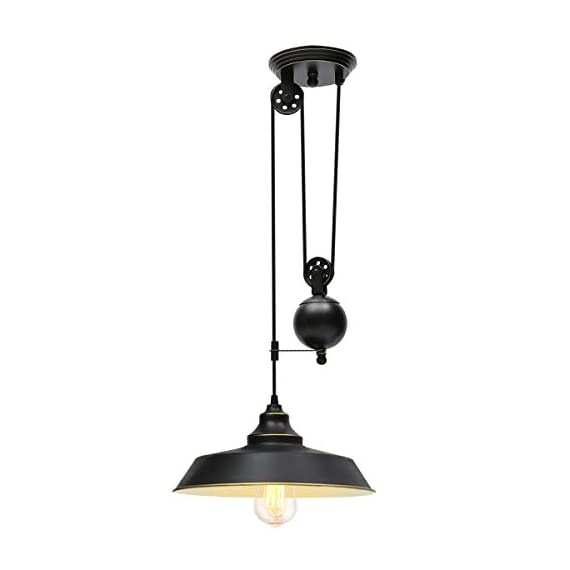 KingSo Rustic Pulley Pendant Light One Light Adjustable Height Industrial Black Ceiling Hanging Light Indoor Island Lamp for Dining Living Room Kitchen Hallway Foyer Farmhouse, One Light - ✔ Rustic Pulley Pendant Light - The vintage retro style with black color and golden rim, pulley adjustable design and golden lining generates an antique flavor. Adjustable length design with movable pulley makes you achieve the perfect lighting. ✔ Specification - The diameter of the lampshade is 11.81in, black surface and golden lining. The total length of the hanging wire is about 6.56ft. The diameter of the canopy is 5.43in. Operating Voltage: 110V. Max. Power: 60W. E26 base (Bulb NOT Included). ✔ Safe and Secure - Hardwired. UL listed. Strong woven rope wraps up the electric wires, not easy to break. Ceramic lampholder-heat-resistant, anti-deformation, corrosion-resistant. - kitchen-dining-room-decor, kitchen-dining-room, chandeliers-lighting - 31oqL%2BVGiFL. SS570  -