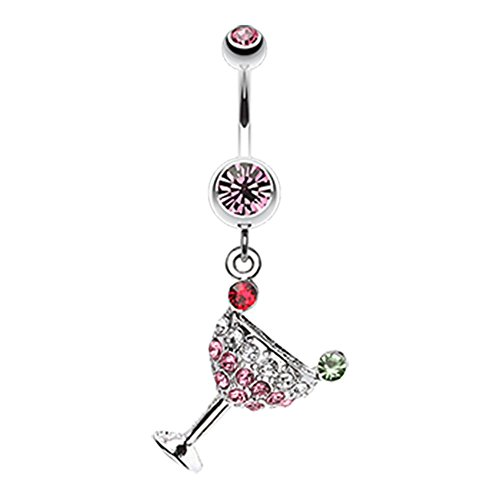 Sparkling Martini Glass Charm Dangle 316L Surgical Steel Freedom Fashion Belly Button Ring (Sold by Piece) (14GA, 3/8