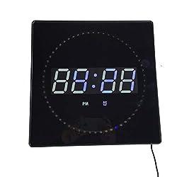 Ledgital LED Alarm Clock Square Shaped Wall Clock Manual Operation Wall Mount 16 Alarms