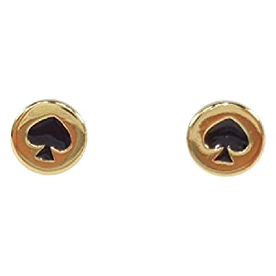 Cheap Kate Spade New York Spot the Spade Black/Gold Stud Earrings free shipping