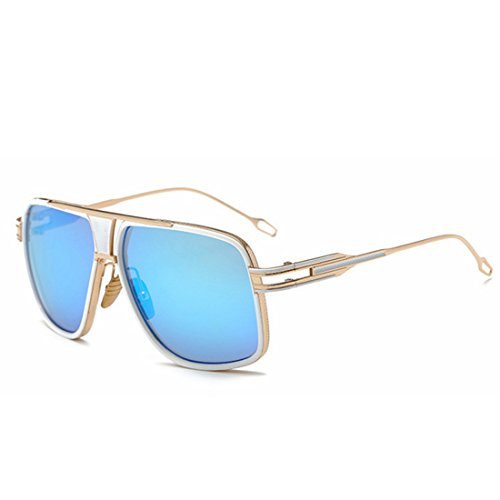 Protection Lunettes Mirror 400 Aviator Soleil Sakuldes UV Color Hommes Gold Blue Polarized De Femmes pour Metal Y1AwzF