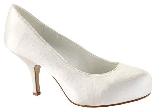 Tacones Bombas Blanco Tamaño bajos ZapatoFashionista Marfil mujer medios trabajo de Plataformas Zapatos para Off corte de Estilete OwOZxqYX1