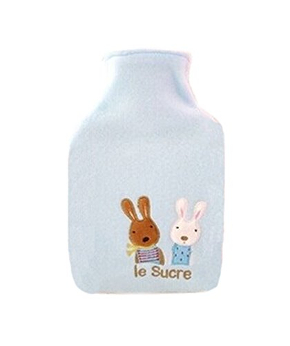 Lovely Animal Series Design Hot Water Bottle With Cover-Blue Rabbit (28x16cm)