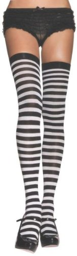 [STOCKINGS THI HI STRIPED WT/RD] (Best Womens Comic Con Costumes)