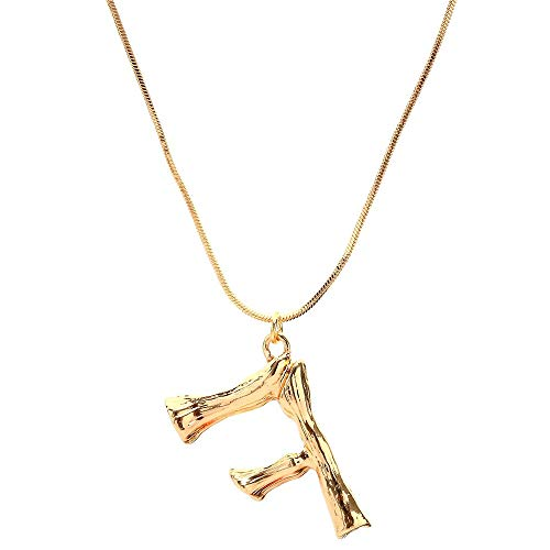 aliveGOT Stainless Steel Gold Initial Alphabet 26 Letters Script Name Pendant Chain Necklace from A-Z