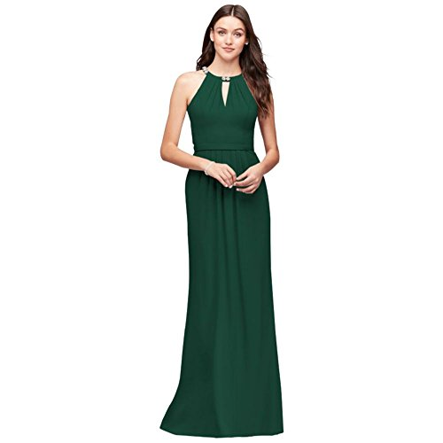 Crepe Halter Bridesmaid Dress with Beaded Neckline Style F19672, Juniper, 0