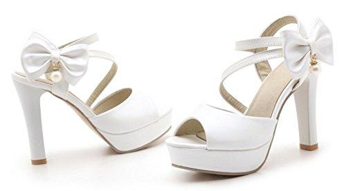 Aisun Donna Carino Peep Toe In Rilievo Gancio E Anello Dressy Chunky Tacco Alto Con Plateau Cinturino Alla Caviglia Sandali Con Fiocco Bianco