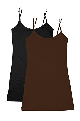 RT1002 PK Ladies Adjustable Spaghetti Strap Long Tank Top 2Pack - Black/Brown S ()