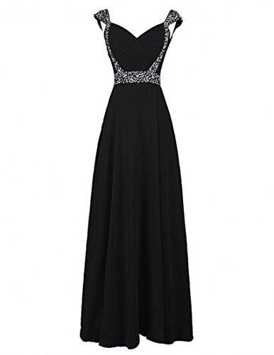Cap Dresses Black Sleeve Bridesmaid Gowns Beaded Prom Fanciest Chiffon Women's Long 7qR5p5