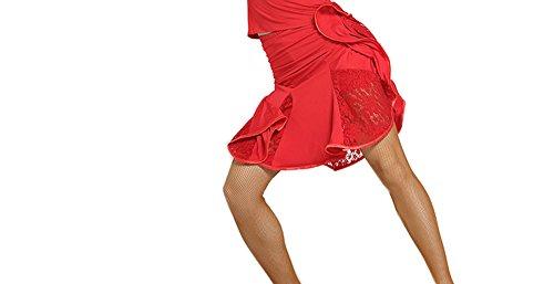 Motony New Style Lace Latin Dance Dress Latin Dance Costume Square Dance Skirt Red S (Square Dance The Dress)