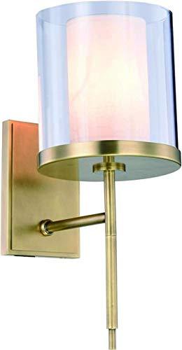 Wall Sconce Bradford French 1-Light Vintage Nickel Glass Polished Metal