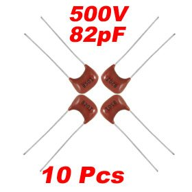 10 x 500V 82pF 5% Epoxy Coated Radial Mica Capacitors