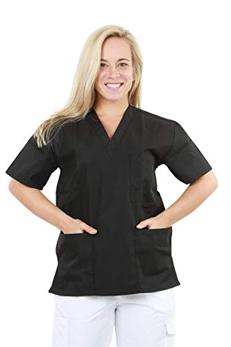 (MAZEL UNIFORMS Womens V-Neck SNAP Closure Scrub TOP with Short Sleeves)