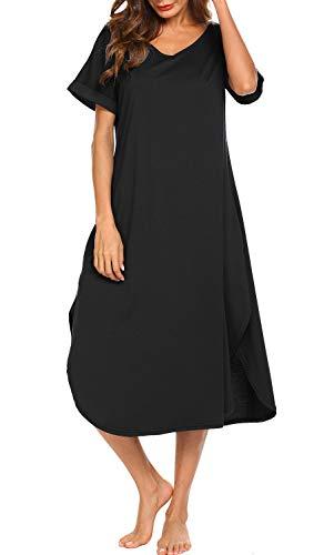 Aviier V Neck Nightgown Womens Full Nightgowns Loose Fit Sleepwear Long Loungewear...
