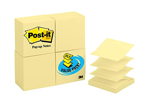 Canary Post - Post-it Pop-up Notes, America's #1 Favorite Sticky Note, 3 x 3 in, Pop-up Note Refills for Dispenser, Canary Yellow, 100 Sheets per pad, 24 Pack (R330-24VAD)