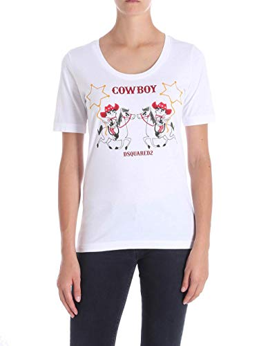 White In S72gd0125 Cotone t shirt Dsquared 1qwS0Bzf