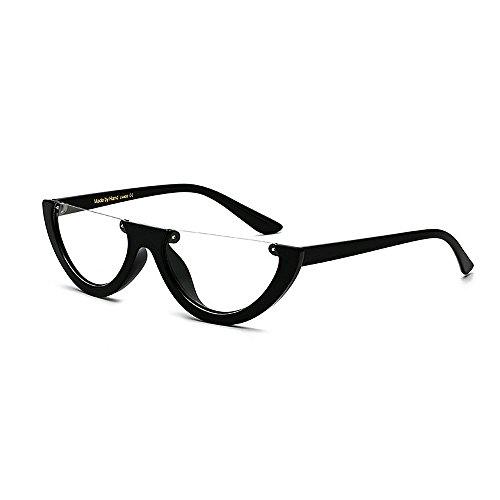 lunettes Clear de protection soleil lunettes pour PC unisexe Rimless les Classic plastique femmes hommes Punk Style Style Retro unisexe lentille Semi de soleil élégant rétro UV cadre petit lunettes Lady en xwq4gw8A