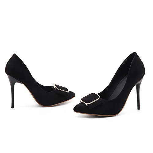 VogueZone009 Women's High-Heels Solid Pull-On Frosted Pointed-Toe Pumps-Shoes Black fmnG5rbaU