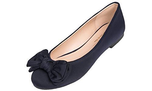 Feversole Round Toe Ballet Cute Bow Trim Women's Flat Shoes