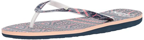 Roxy Women's Portofino Sandals Flip-Flop, Blue Print, 7 M (Roxy Print Sandals)
