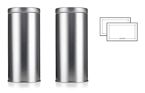 - Silver Metal Tea Tin Canister with Metal Interior Seal Lids, for Coffee and Tea Container, For Dried Herbs and Spices, Loose Leaf Tea 16 oz - holds approx 2 cups loose leaf tea each (2 pack) + Labels