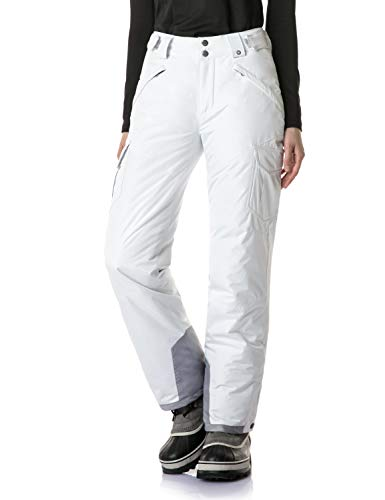 - TSLA Women's Rip-Stop Snow Pants Windproof Ski Insulated Water-Repel Bottoms, Snow Cargo(xkb92) - White, Medium/Short (Waist:27.5~29.5,Hips:41.5~43.5 Inch)