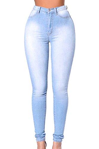 yulinge Mujeres Verano Casual Pantalones Largos Denim Pantalones De Cintura Alta Lightblue