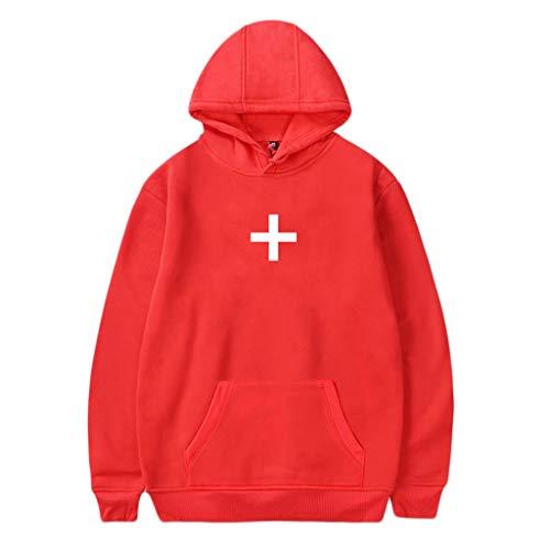 ❀HebeTop❀ Hoodies for Women Drawstring Patchwork Sweatshirt Long Sleeve Cowl Neck Top Pocket Blouse Red