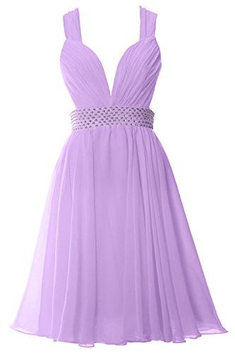 Dress Lavendel MACloth Gown Neck Sexy Chiffon Straps V Formal Party Prom Women Short qg6q87B