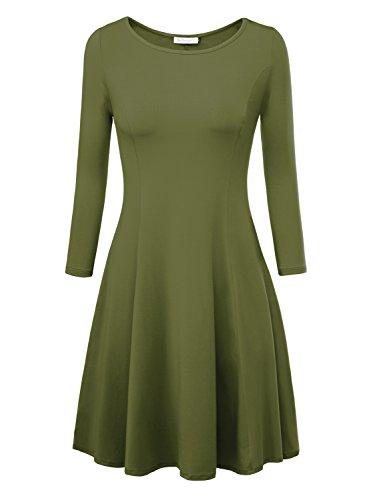 Vestito Slim Baishenggt Fit Verde Femminile Casuale Svasato Militare Girocollo qpAg4Fxn