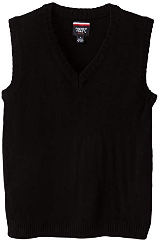French Toast  Boys' V-neck Sweater Vest, Black, X-Large/14-16,Big Boys
