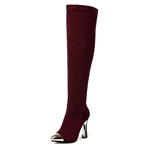 Suede Heel Seven Women's Toe Burgundy Leather Elegant Handmade Over Knee Pointy Nine Chunky Cap Boot The 5paq8qg