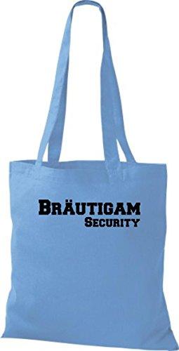 Shirtstown Stoffbeutel JGA Bräutigam Security viele Farben hellblau