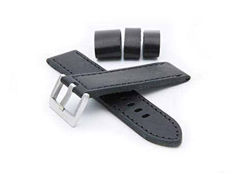 HELM Watches LS2 Leather Watch Strap - Black (22mm)