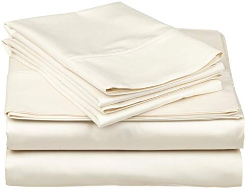 4 Piece Cotton Sheets Set 15 Inches Deep Pocket 600 Thread Count 100% Cotton Bed Sheets Set (RV Eastern King 76 Inches X 80 Inches,Ivory Solid) ()