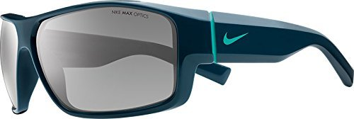 NIKE EV0819-403 Reverse Sunglasses (One Size), Space Blue/Hyper Jade, Grey with Silver Flash Lens