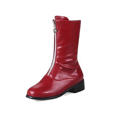 RTRY Women'S Shoes Leatherette Fall Winter Fashion Boots Combat Boots Boots Chunky Heel Round Toe Mid-Calf Boots Zipper For Casual Dress Red US10.5 / EU42 / UK8.5 / CN43