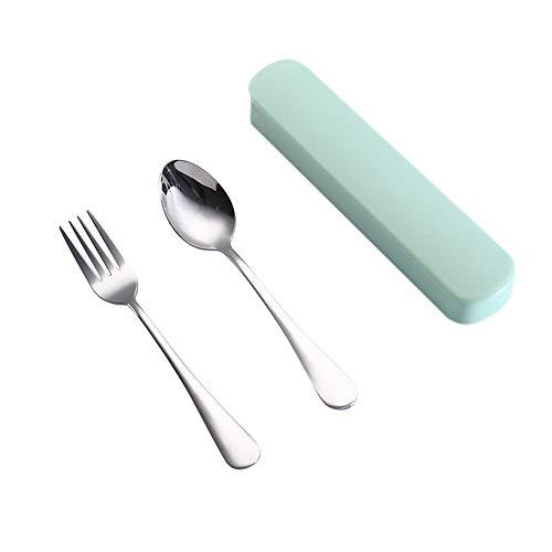 - Tuscom Flatware Set, Portable Travel Utensil Set, 2 Pieces Stainless Steel Fork Spoon Utensil Set Silverware Tableware Cutlery Set for Anywhere, Dishwasher Safe (Green)
