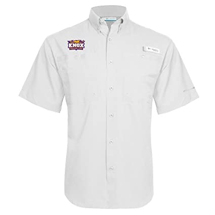 9e810366984 Knox College Columbia Tamiami Performance White Short Sleeve Shirt  Prairie  Fire Logo  - Small