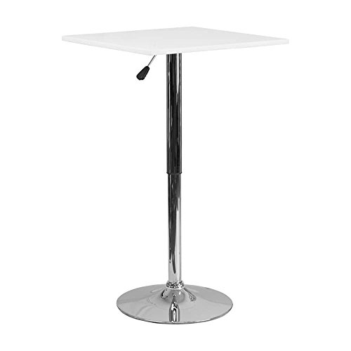 Offex 23.75'' Adjustable Height White Wood Pedestal Table - 23.75'' W x 23.75'' D x 40.5'' H Round by Offex (Image #1)